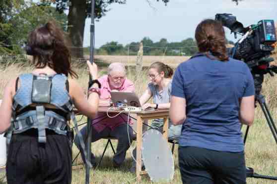 Rebecca Nesbit and George McGavin filming painted ladies